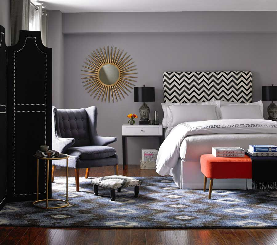 bedroom with hand-knotted artisan rug
