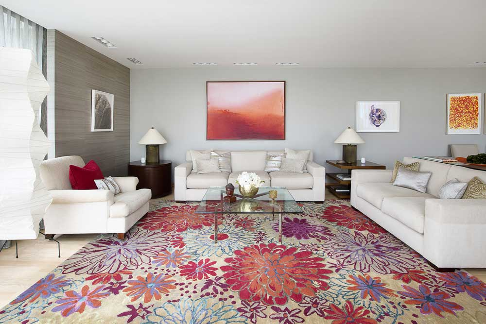 living room with a custom rug from Tufenkian