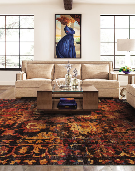 tastefully decorated living room with a striking handmade oriental rug