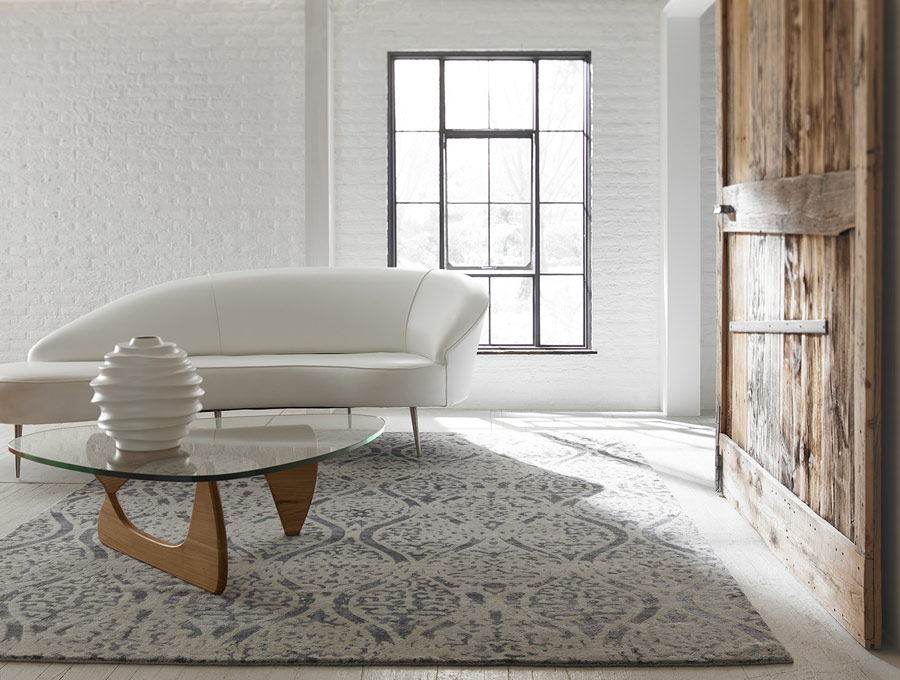 tribal Kalaty rug in a modernist living room