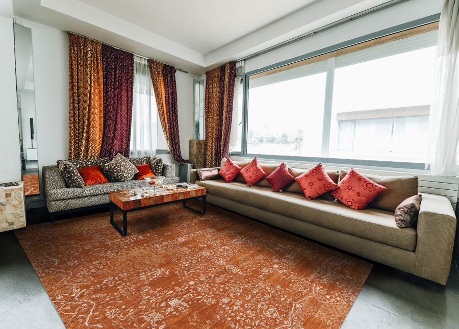 handmade oriental rug in a living room