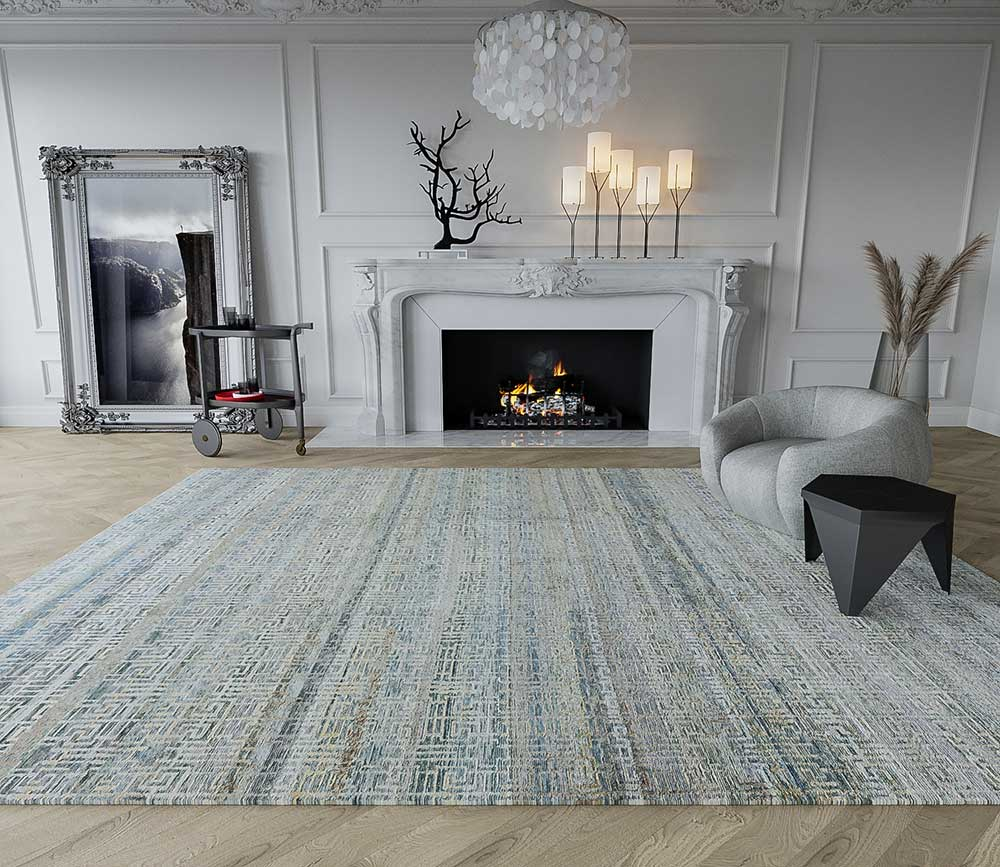 Tufenkian rug in a living room with a fireplace