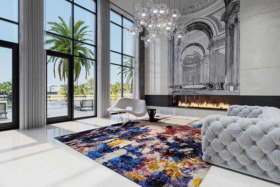 Tufenkian rug with a striking design in a palatial interior