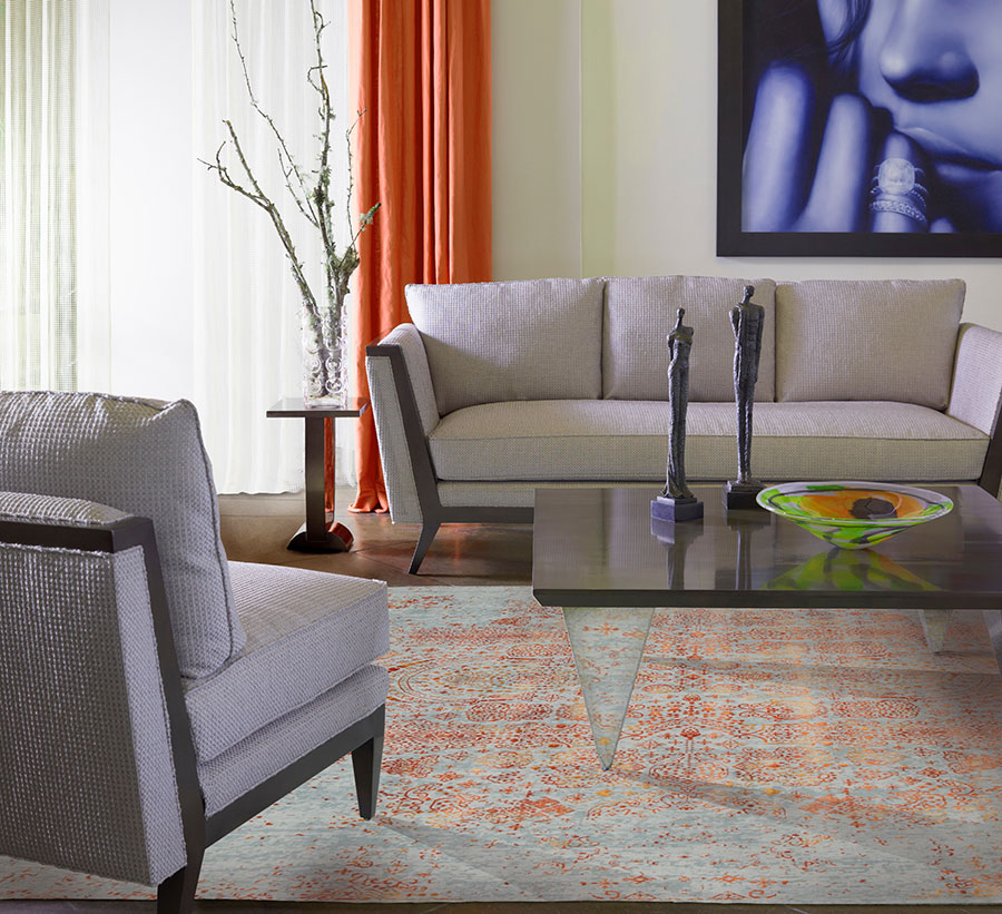 living room adorned with a striking transitional area rug