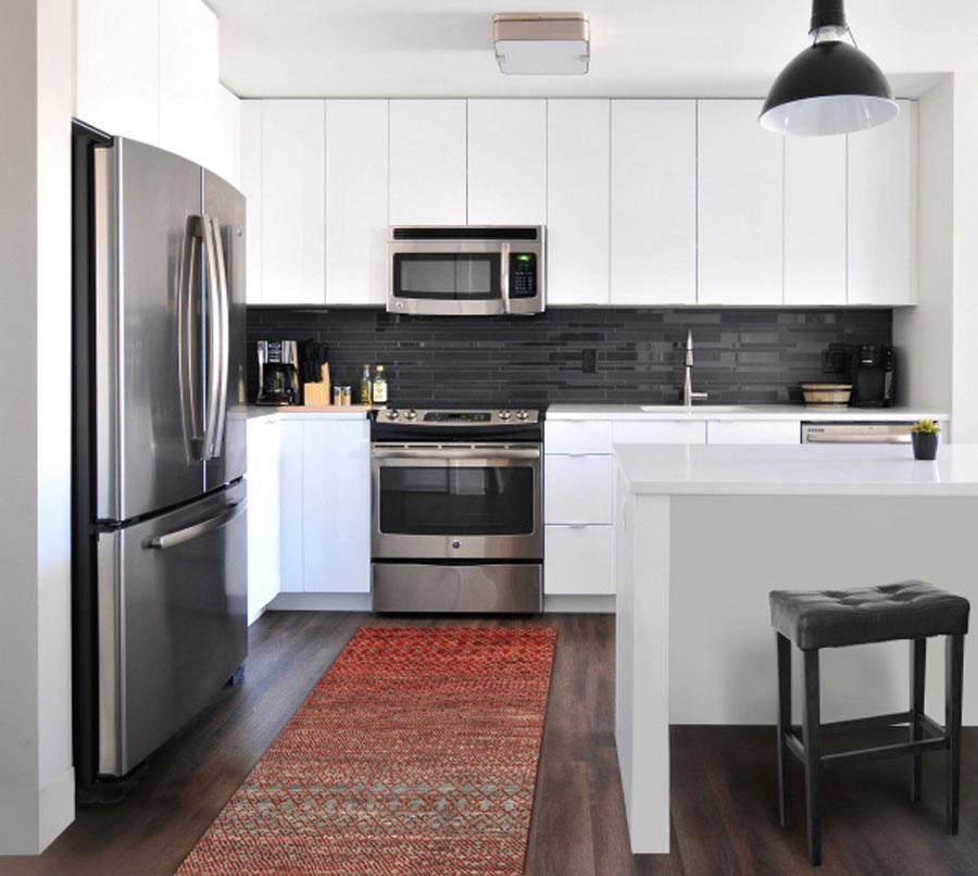 how to decorate kitchen with standard rug size