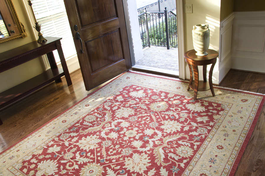 an area rug covers the wooden floor of the entrance to a home