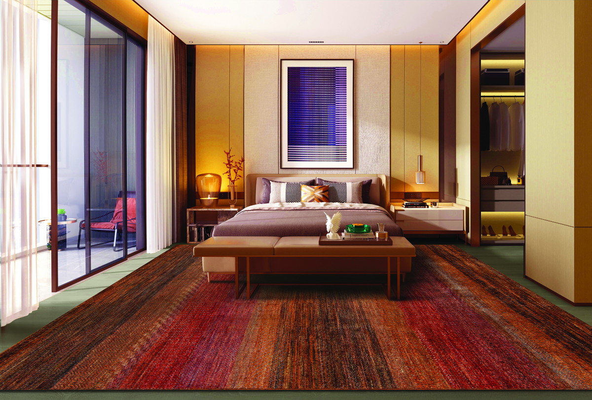 red and brown rug in a large room