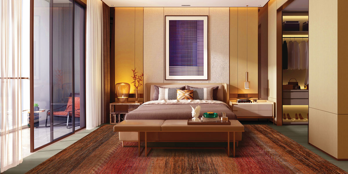 contemporary Asian inspired bedroom