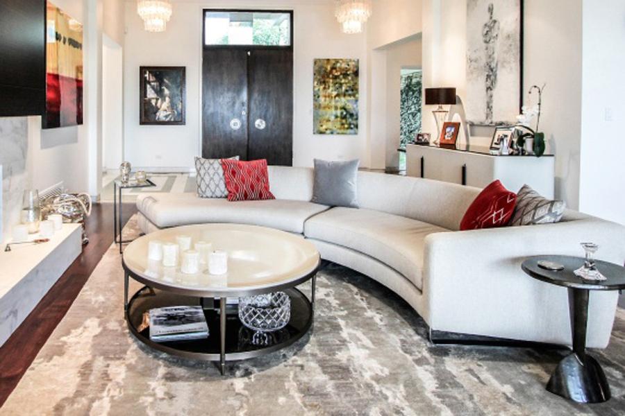 Using red as an accent color for black and white living room