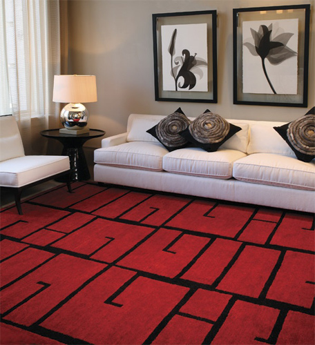 decorating with red rug in living room