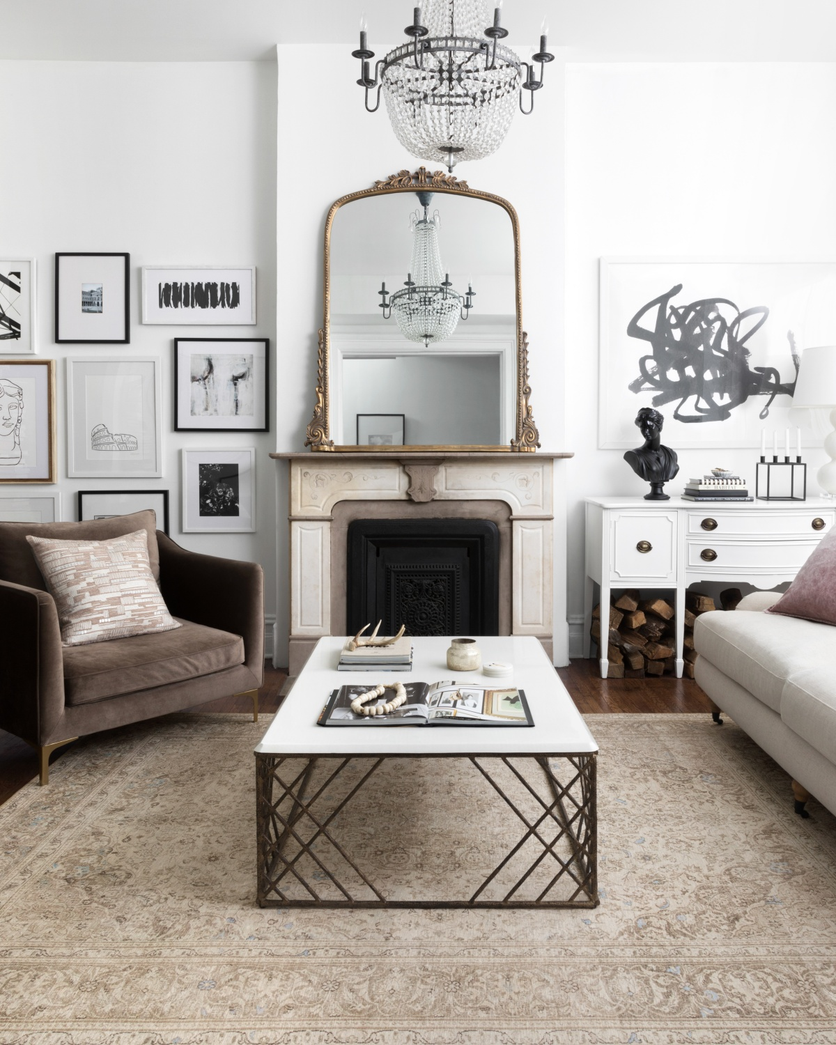 transitional living room with art pieces