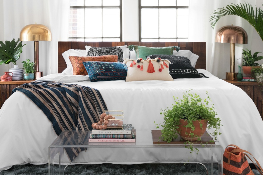 Embroidered pillows boho chic bedroom