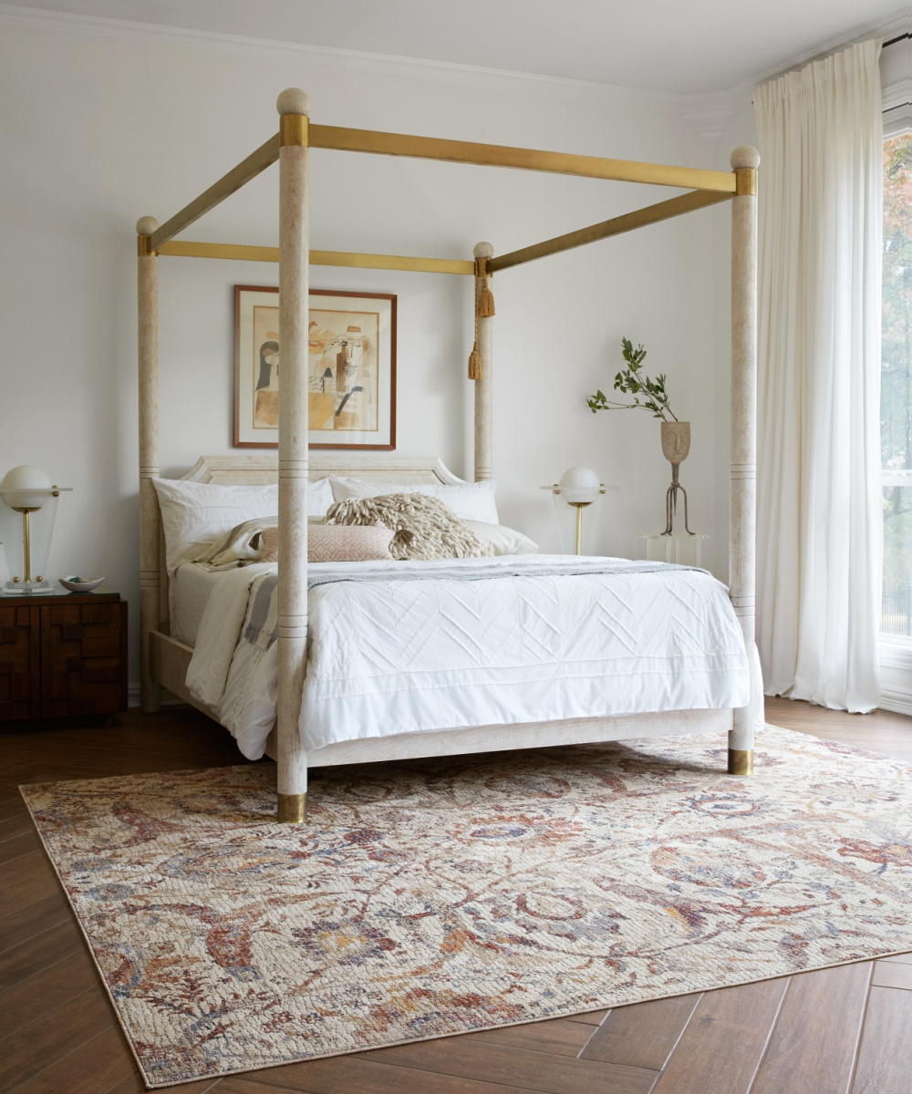 boho chic bedroom with prints and patterns