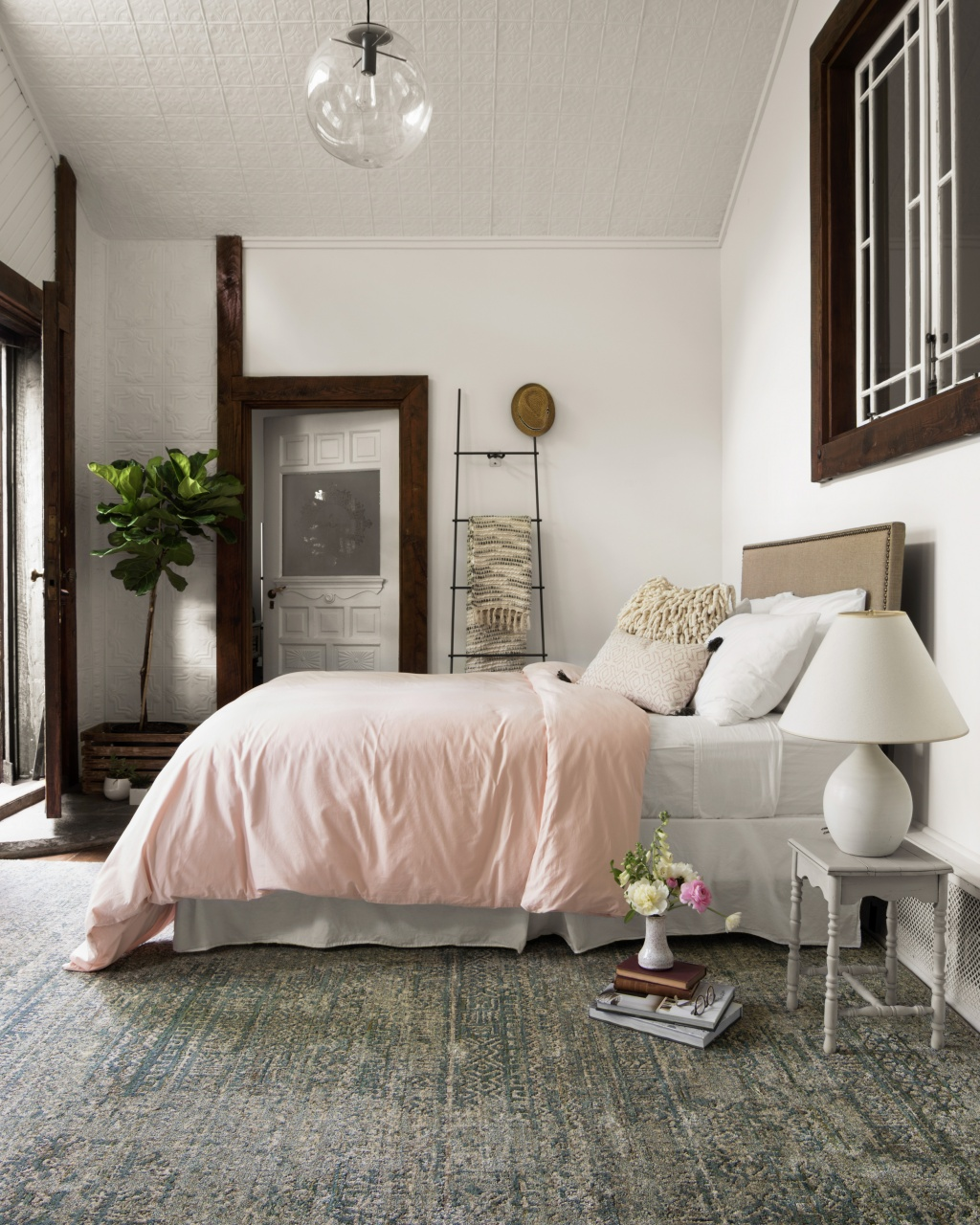 bohemian inspired bedroom with textures and layers