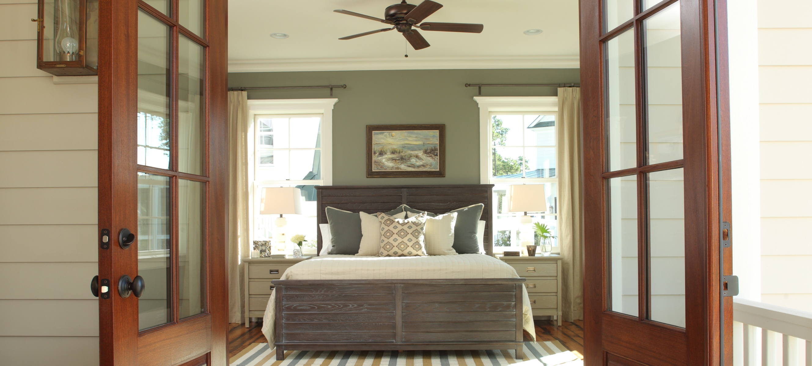 coastal bedroom with wood accents