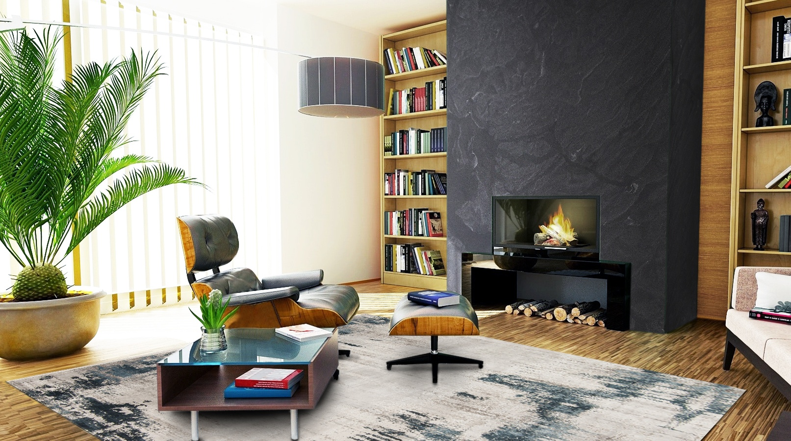 eames chair mid-century living room