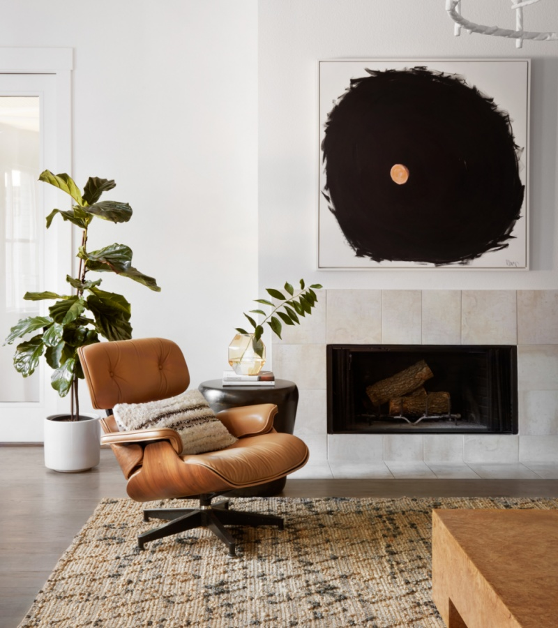 mid century statement wall and eames lounge chair
