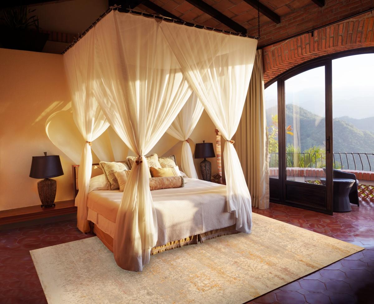 a tropical bedroom